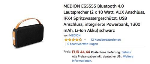 MEDION E65555 Bluetooth-Lautsprecher Schwarz (2 x 10 Watt, IPX4, integrierte Powerbank) - jetzt 11% billiger