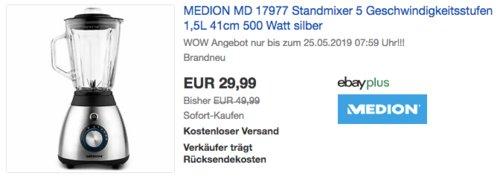 MEDION MD 17977 Standmixer mit 5 Geschwindigkeitsstufen, 500 Watt - jetzt 25% billiger