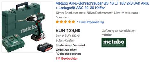 Metabo Akku-Bohrschrauber BS 18 LT 18V inkl. 2x3,0Ah Akku, Ladegerät ASC 30-36 und Koffer - jetzt 27% billiger