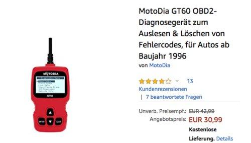MotoDia GT60 OBD2-Diagnosegerät zum Auslesen & Löschen von Fehlercodes - jetzt 31% billiger