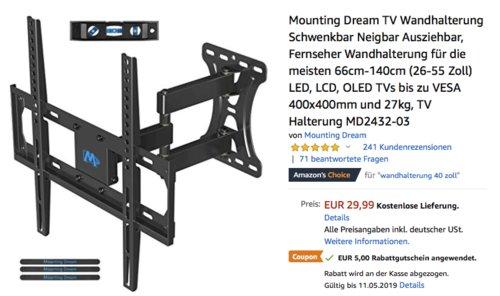 Mounting Dream TV-Wandhalterung MD2432-03 für 26-55 Zoll Fernseher, ausziehbar - jetzt 17% billiger