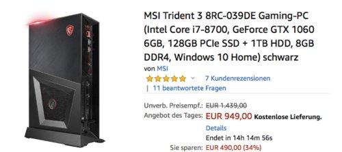 MSI Trident 3 8RC-039DE Gaming-PC ( i7-8700, GeForce GTX 1060 6GB, 128GB PCIe SSD + 1TB HDD, 8GB DDR4, Windows 10 Home) - jetzt 27% billiger