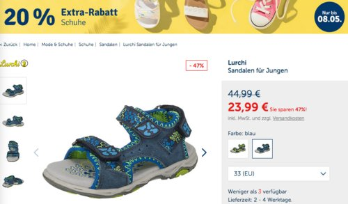 myToys 20 % Extra-Rabatt auf ausgewählte Schuhe: z.B. Lurchi Sandalen für Jungen (Blau, Gr. 33) - jetzt 18% billiger