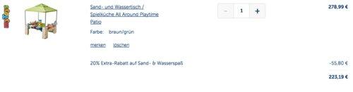 """myToys.de 20 % Extra-Rabat auf Sand- & Wasserspaß bis 17.5.19: z.B. Sand- und Wassertisch / Spielküche """"All Around Playtime Patio"""" - jetzt 20% billiger"""