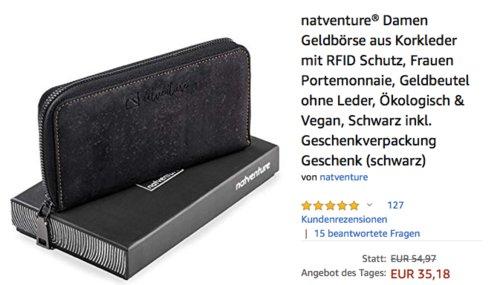 natventure® Damen Geldbörse aus Korkleder mit RFID Schutz, schwarz - jetzt 18% billiger