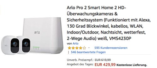 Netgear Arlo Pro 2 (VMS4230P) Smart Home Sicherheitssystem mit 2 Full-HD Überwachungskameras - jetzt 9% billiger