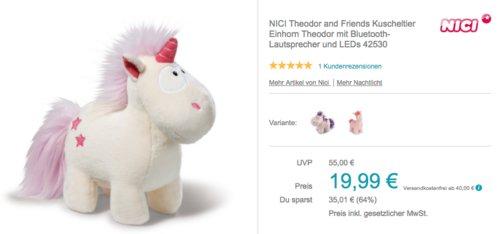 """NICI 42530 Theodor and Friends Kuscheltier """"Einhorn Theodor"""" mit Bluetooth-Lautsprecher und LEDs - jetzt 7% billiger"""