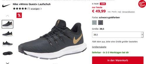 """Nike """"Wmns Quest"""" Damen Laufschuh, schwarz-gold oder mint - jetzt 23% billiger"""