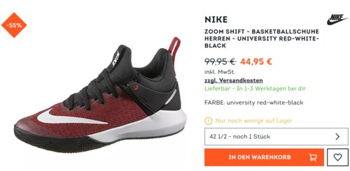 Nike ZOOM SHIFT - Herren  Basketballschuhe University red-white-black, 42 1/2 - jetzt 40% billiger