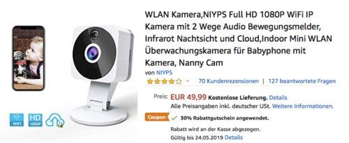 NIYPS Full HD 1080P WLAN - Überwachungskamera (2-Wege Audio, Bewegungsmelder, Nachtsicht) - jetzt 30% billiger