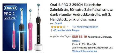 Oral-B PRO 2 2950N Elektrische Zahnbürste mit 2. Handstück, pink und schwarz - jetzt 14% billiger