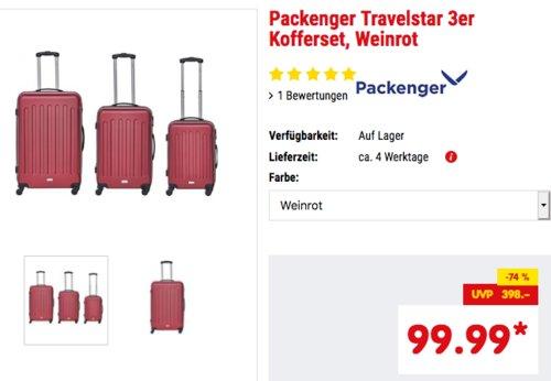 Packenger Travelstar 3er Kofferset (32, 59 und 94 Liter) - jetzt 9% billiger