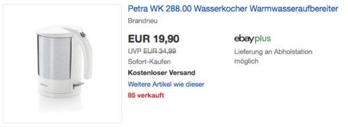 Petra WK 288.00 Edelstahl-Wasserkocher, 1,3 Liter - jetzt 15% billiger
