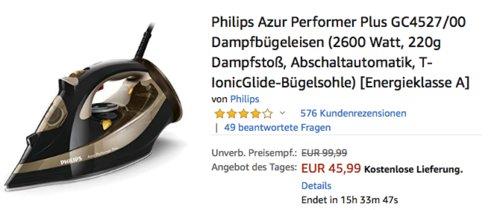 Philips Azur Performer Plus GC4527/00 Dampfbügeleisen, 2600 Watt - jetzt 16% billiger