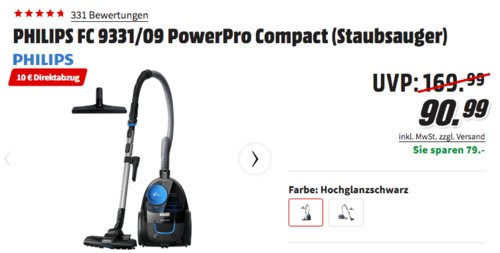 PHILIPS FC 9331/09 PowerPro Compact beutellose Staubsauger, 650 Watt - jetzt 11% billiger