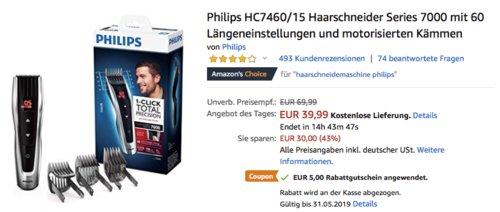 Philips HC7460/15 Haarschneider mit 60 Längeneinstellungen und motorisierten Kämmen - jetzt 34% billiger