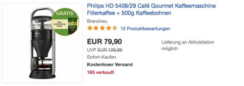 Philips HD 5408/29 Café Gourmet Kaffeemaschine inkl. 500g Kaffeebohnen - jetzt 22% billiger