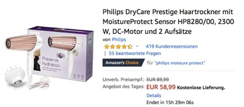 Philips HP8280/00 DryCare Prestige Haartrockner mit MoistureProtect Sensor - jetzt 17% billiger