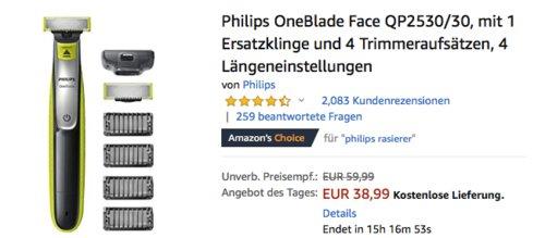 Philips OneBlade QP2530/30 Rasierer mit 1 Ersatzklinge und 4 Trimmeraufsätzen - jetzt 18% billiger