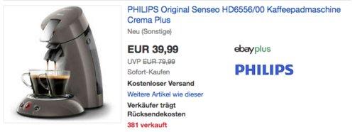 PHILIPS Original Senseo HD6556/00 Kaffeepadmaschine Crema Plus ((neu und unbenutzt, aber leichte Verpackungsmängel können vorhanden sein) - jetzt 43% billiger