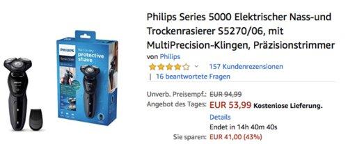 Philips Series 5000 Nass-und Trockenrasierer S5270/06 mit Präzisionstrimmeraufsatz - jetzt 21% billiger