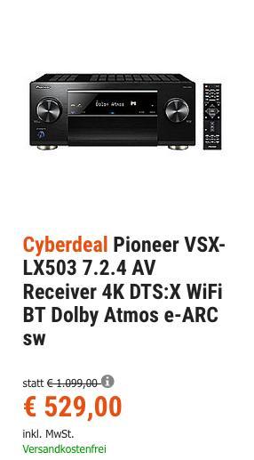 Pioneer VSX-LX503 7.2.4 AV Receiver (180 W/Kanal, Dolby Atmos) - jetzt 5% billiger