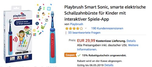 Playbrush Smart Sonic elektrische Schallzahnbürste für Kinder mit interaktiver Spiele-App - jetzt 15% billiger