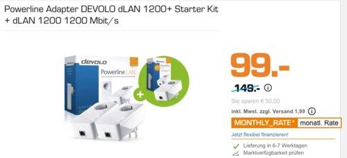 Powerline Adapter DEVOLO dLAN 1200+ Starter Kit inkl. dLAN 1200+ Einzeladapter - jetzt 32% billiger