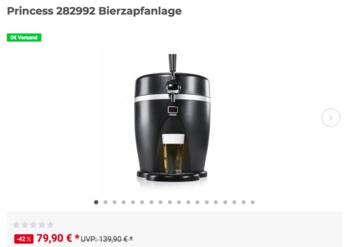 Princess 282992 Bierzapfanlage mit Kühlboxfunktion, 12/230 Volt - jetzt 20% billiger
