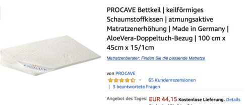 PROCAVE Bettkeil/ keilförmiges Schaumstoffkissen 100 x 45 x 15/1cm - jetzt 15% billiger