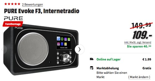 PURE Evoke F3 Internetradio (DAB+, DAB, UKW, WLAN, Bluetooth) - jetzt 19% billiger