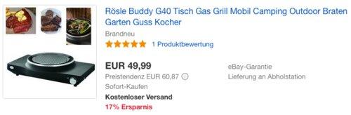 Rösle Buddy G40 Tisch-Gasgrill, 2,4 kW - jetzt 25% billiger