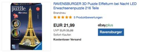"""RAVENSBURGER 12579 3D Puzzle """"Eiffelturm bei Nacht"""", 47 cm hoch - jetzt 8% billiger"""