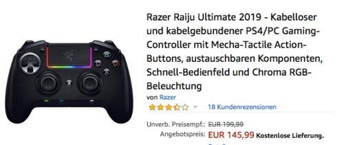 Razer Raiju Ultimate 2019 - kabelloser und kabelgebundener PS4/PC Gaming-Controller, schwarz - jetzt 15% billiger