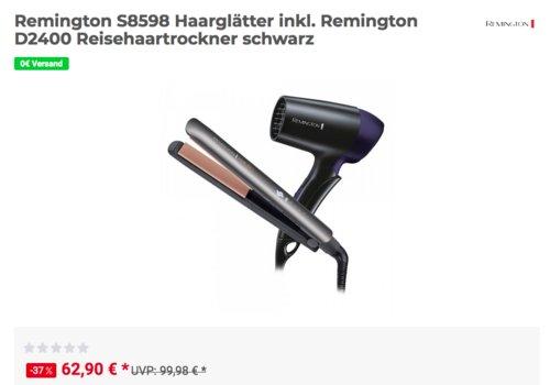 Remington S8598 Haarglätter inkl. Remington D2400 Reisehaartrockner - jetzt 21% billiger