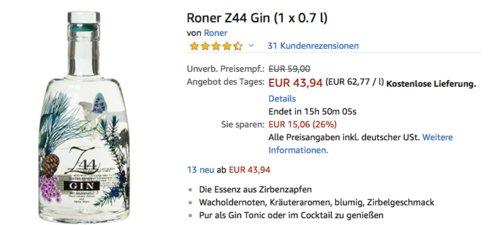 Roner Gin Z44 0,7 Liter 44% Vol., Destilled Dry Gin aus Südtirol - jetzt 12% billiger