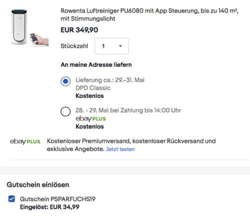 Rowenta PU6080 Intense Pure Air Connect XL Luftreiniger mit App Steuerung - jetzt 10% billiger