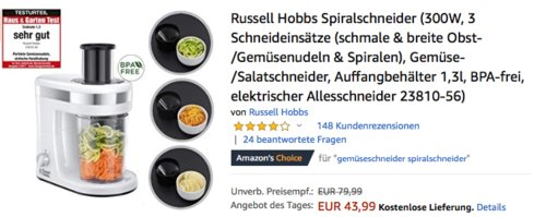 Russell Hobbs 23810-56 Spiralschneider mit 3 Schneideinsätzen, 300W - jetzt 12% billiger