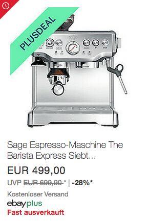 """Sage Appliances SES875 Espresso-Maschine """"The Barista Express"""", Edelstahl - jetzt 10% billiger"""