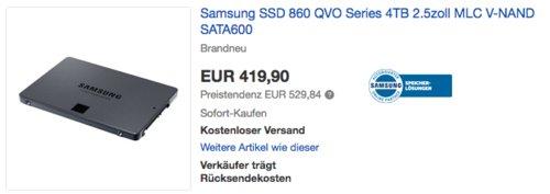Samsung 860 QVO Series 4TB interne  SSD-Festplatte - jetzt 15% billiger