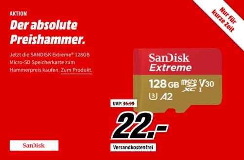 SANDISK Extreme® UHS-I 128 GB Micro-SDXC Speicherkarte, 160 MB/s - jetzt 21% billiger