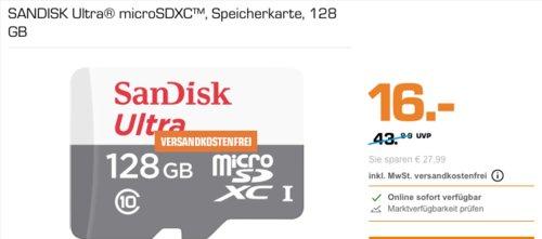 SanDisk Ultra 128 GB microSDXC Speicherkarte inkl. Adapter - jetzt 17% billiger