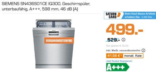 SIEMENS SN436S01CE IQ300 Geschirrspüler, unterbaufähig - jetzt 5% billiger