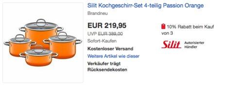 """Silit Kochgeschirr-Set """"Passion Orange"""", 4-teilig - jetzt 10% billiger"""