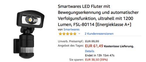 Smartwares FSL-80114 LED-Fluter mit Bewegungserkennung und Verfolgunsfunktion, 1200 Lumen - jetzt 18% billiger