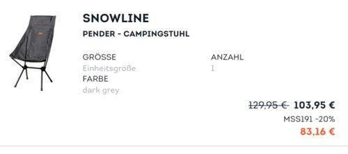 Snowline Pender - faltbarer Campingstuhl, dark grey - jetzt 20% billiger