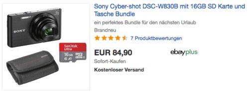 Sony Cyber-shot DSC-W830B Digitalkamera inkl. 16GB SD Karte und Tasche - jetzt 15% billiger