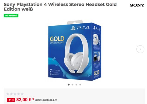 Sony Playstation 4 Wireless Stereo Headset Gold Edition, weiß - jetzt 10% billiger