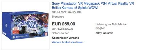 Sony Playstation VR Megapack - PS4 Virtual Reality VR Brille inkl. Kamera und 5 Spiele - jetzt 18% billiger