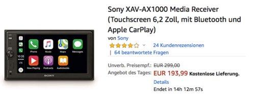 Sony XAV-AX1000 Auto Media-Receiver mit 6,2 Zoll Touchscreen (1-DIN Gehäuse, 2-DIN Einbauschacht) - jetzt 22% billiger